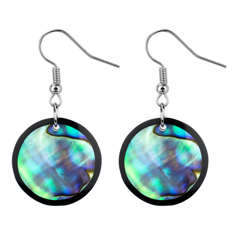 Drop Earring Inlay Round Paua Made With Resin & Shell by JOE COOL
