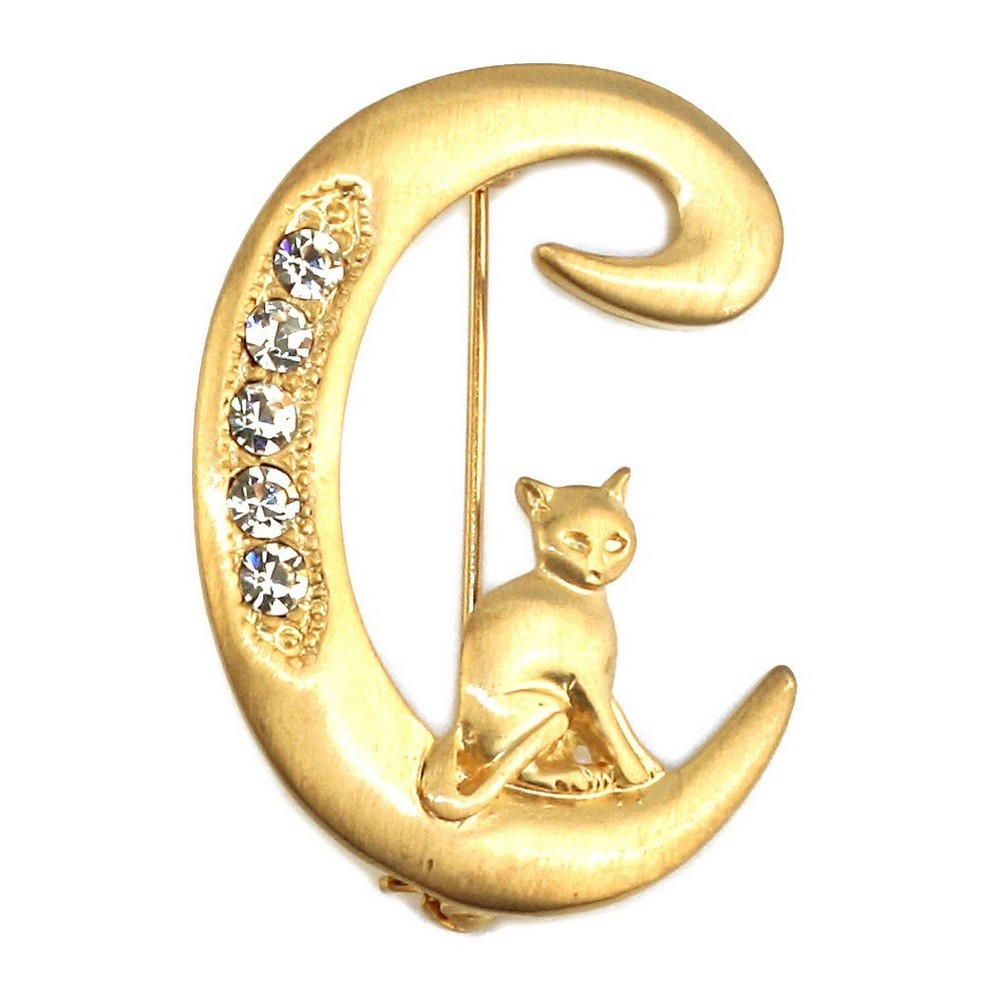 Brooch Gold Plated Initial 'c' With A Climbing Cat Made With Pewter & Crystal Glass by JOE COOL