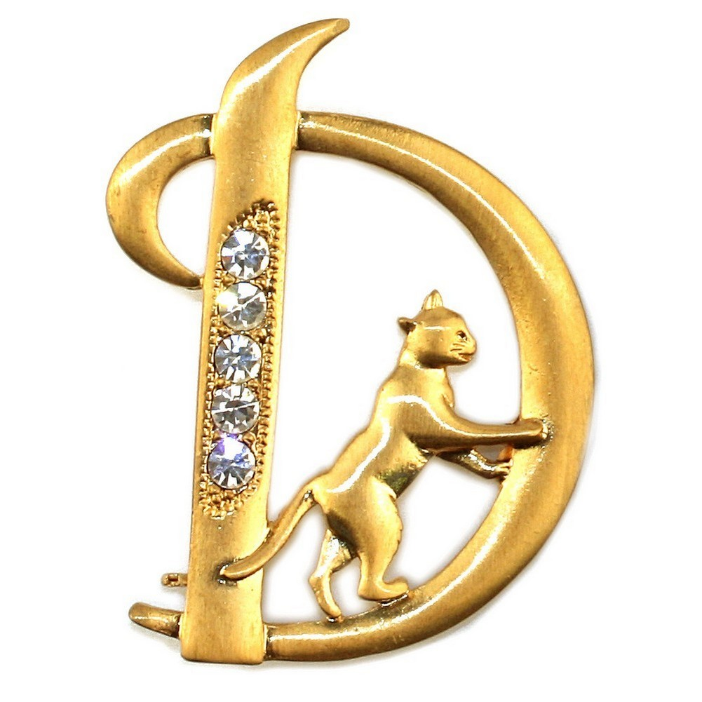 Brooch Plated Initial 'd' With A Climbing Cat Made With Pewter & Crystal Glass by JOE COOL