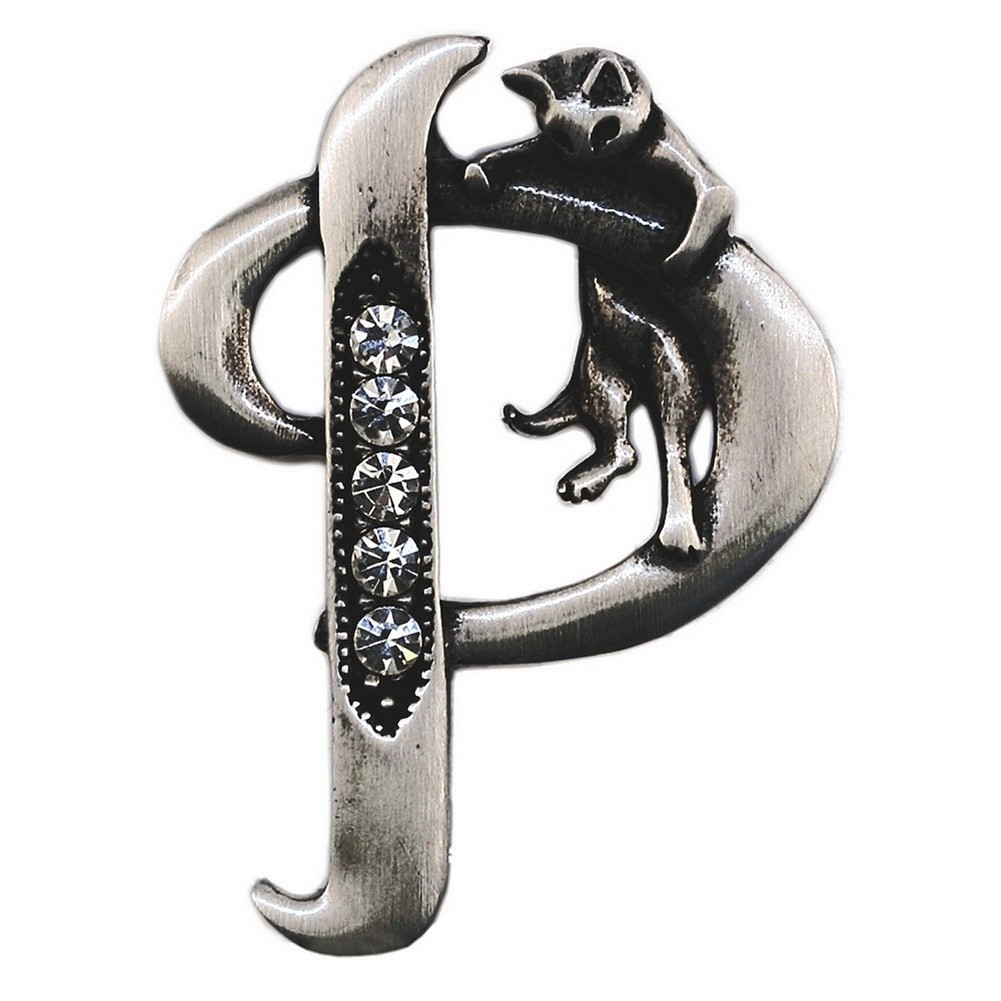 Brooch Initial 'p' Cat/stones Made With Pewter by JOE COOL