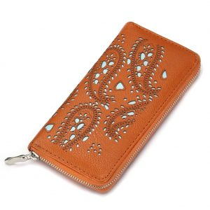 Zip Wallet Punched Paisley Made With Pu by JOE COOL