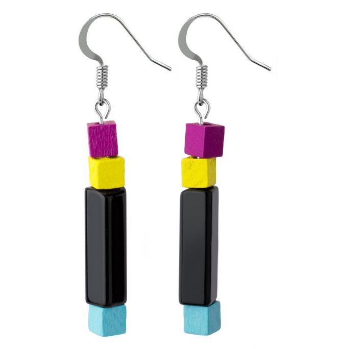 Drop Earring Manhattan Coloured Made With Glass & Wood by JOE COOL