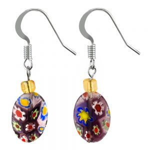 Drop Earring Milliefiori Made With Glass Beads by JOE COOL
