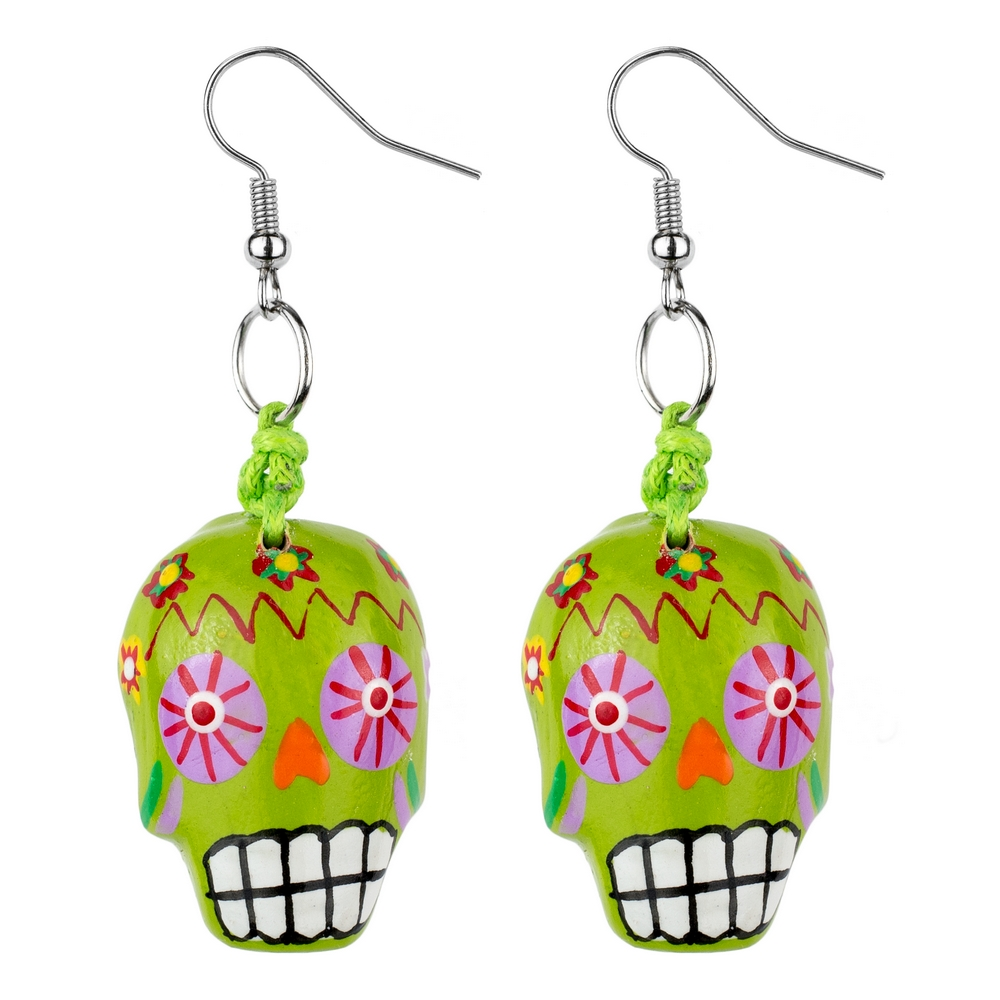 Drop Earring Day Of The Dead Made With Wood by JOE COOL