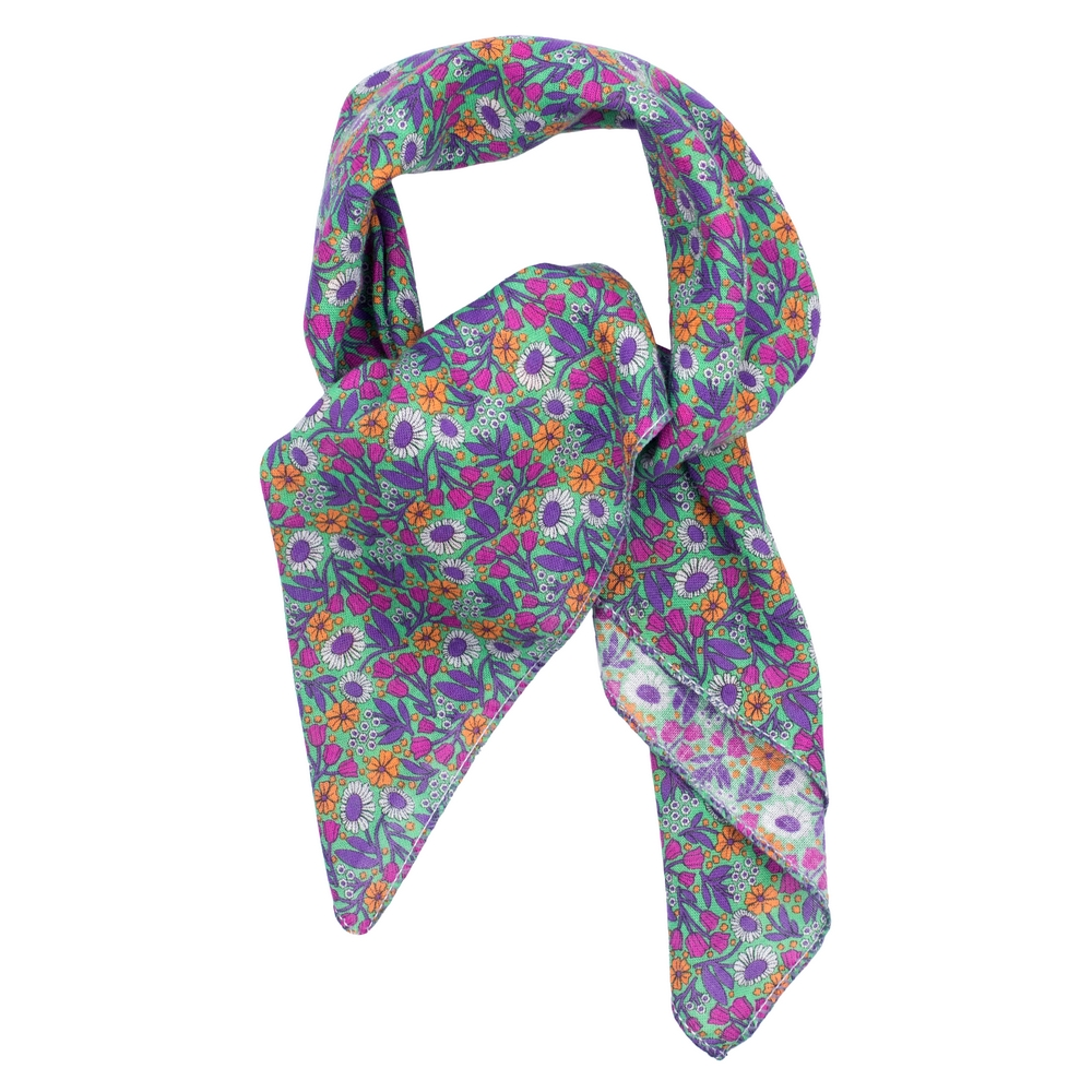 Scarf Kerchief Morris Inspired Jewelled Tones Made With Cotton by JOE COOL