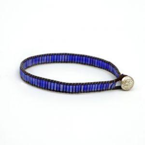 Bracelet Bugle Bead Rainbow Made With Cord & Glass by JOE COOL