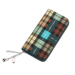 Zip Wallet Contemporary Tartan Plaid With Zip Made With Pu by JOE COOL