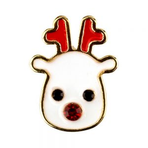 Clutch Pin Brooch Christmas Gift Card Reindeer Made With Crystal Glass & Enamel by JOE COOL