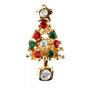 Clutch Pin Brooch Christmas Gift Card Tree Made With Crystal Glass & Enamel by JOE COOL