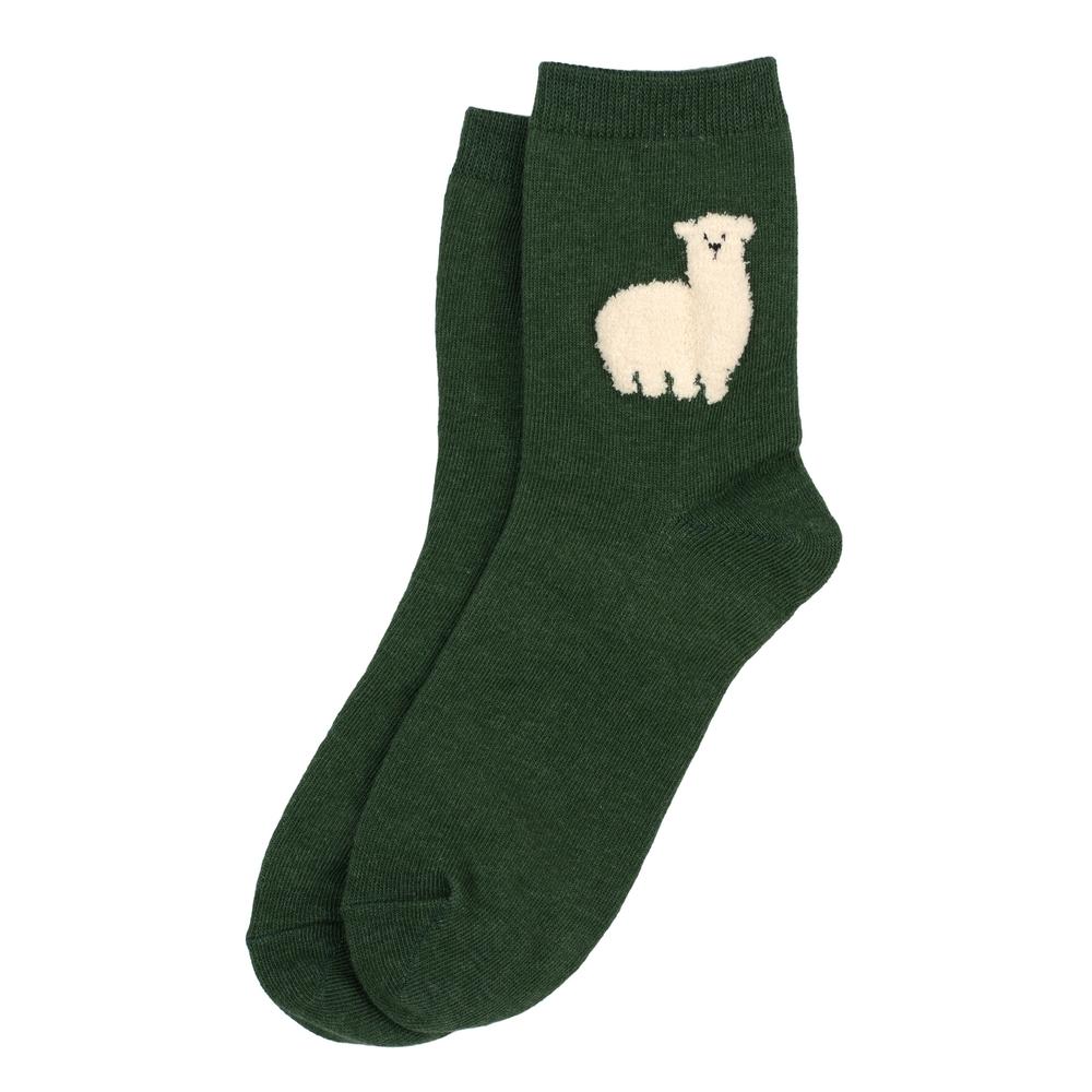 Socks Fluffy Llama Made With Cotton & Spandex by JOE COOL