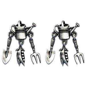 Stud Earring Watering Can & Spade & Fork Made With Pewter by JOE COOL