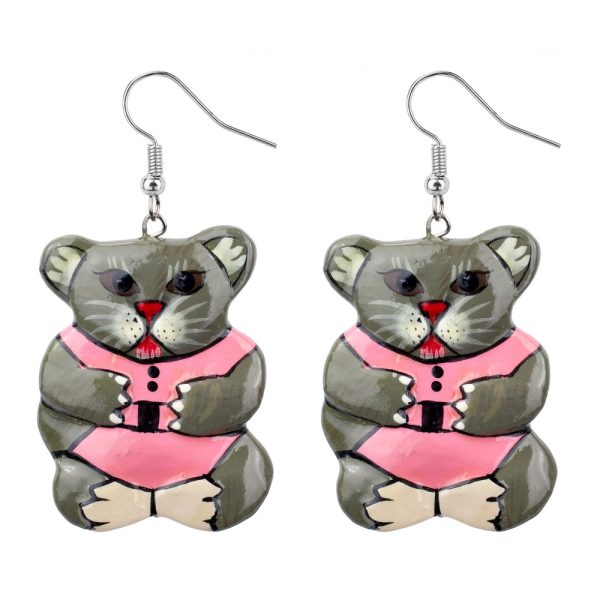 Drop Earring Painted Fantasy Furry Friend Made With Wood by JOE COOL