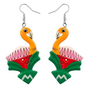 Drop Earring Painted Carnival Bird Made With Wood by JOE COOL