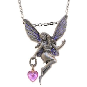 Necklace Fairy Dangling Heart On Chain Made With Pewter by JOE COOL