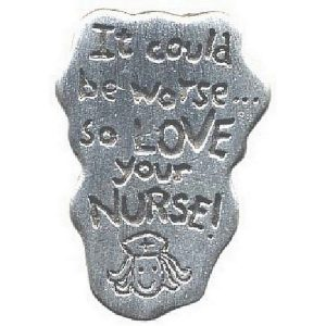 Clutch Pin Brooch Jonnette Artifact - Love Your Nurse Made With Pewter by JOE COOL