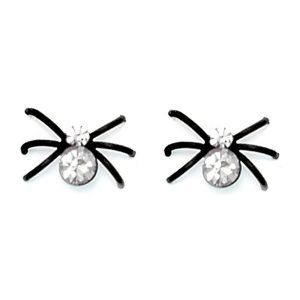 Stud Earring Black Leg Spiders Made With Crystal Glass & Surgical Steel by JOE COOL