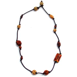 Choker Necklace Bead With Skulls Made With Bone & Wood by JOE COOL