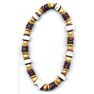 Necklace Burgundy & Brown Made With Wood & Bone by JOE COOL