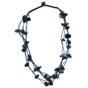 Necklace 3 Strand Black Made With Gem Stone by JOE COOL