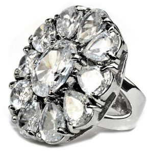Ring Tear Cluster Clear Made With Crystal Glass by JOE COOL