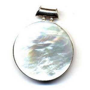 Necklace With A Pendant White Round App 30-50mm Made With 925 Silver & Shell by JOE COOL