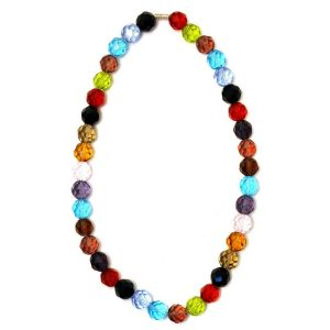 Bead String Necklace Facet Bead Multi-coloured Made With Crystal Glass by JOE COOL