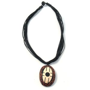 Necklace With A Pendant Inlay Two Tone Made With Wood by JOE COOL