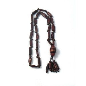 Necklace With A Pendant Dark Tassel X 110cm Made With Wood by JOE COOL