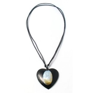 Necklace Black Heart Oval Inlay Made With Resin & Shell by JOE COOL
