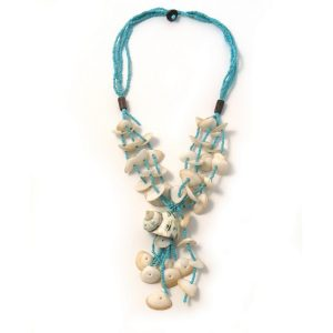 Necklace With A Pendant 4 Strand Turquoise Beads Made With Shell & Glass by JOE COOL