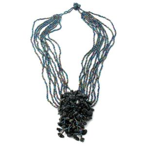 Necklace 9 Strand With Stone Cluster Made With Glass by JOE COOL