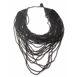 Necklace Black Multi Strand Collar Made With Glass & Bead by JOE COOL