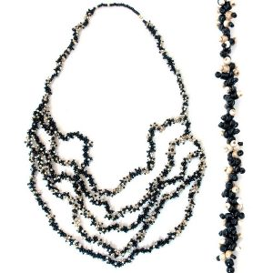 Necklace 5 Row Graduated Black 104cm Made With Glass & Bead by JOE COOL