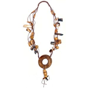 Necklace 5 Strand Brown 90mm Cut Out Disc Made With Bone by JOE COOL