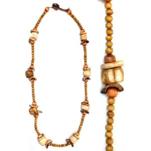 Necklace Brown 8 Oval 26x16mm Beads Made With Bone by JOE COOL