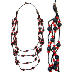 Necklace 4 Strand Graduated 13mm Ball Made With Wood & Seed by JOE COOL