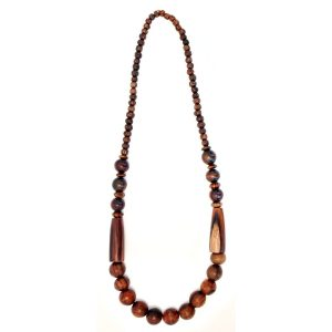 Necklace Multi Beads 80cm Made With Wood by JOE COOL