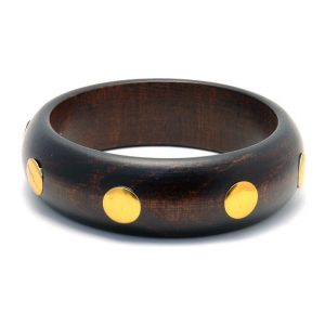 Bangle 8 Gold Stud 22mm Made With Wood by JOE COOL