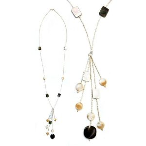 Necklace Silver Bead Tassel Made With Mother Of Pearl & 925 Silver by JOE COOL