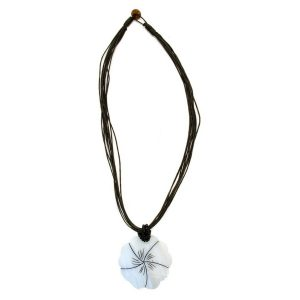 Necklace With A Pendant White Flower Black Cord Made With Shell by JOE COOL