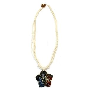 Necklace With A Pendant Brown Flower Natural Cord Made With Shell by JOE COOL