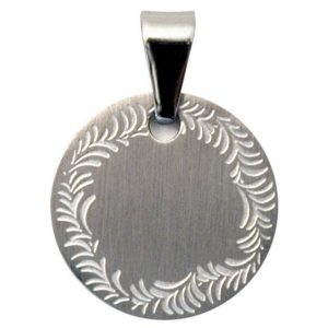 Necklace With A Pendant Garlanded Stainless Disc Made With Surgical Steel by JOE COOL