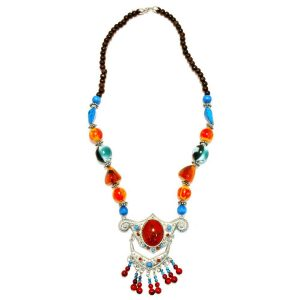 Necklace With A Pendant Red Centre Bead Made With Zinc Alloy by JOE COOL