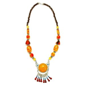Necklace Amber Centre Bead Made With Zinc Alloy by JOE COOL