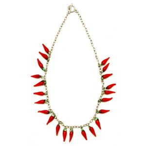Chain Necklace With Feature Hot Red Chilli Made With Glass by JOE COOL