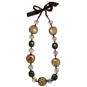 Long Necklace Smoky Black Gloss On Ribbon Made With Resin & Ceramic by JOE COOL