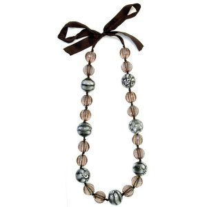 Long Necklace Smoky & White Gloss On Ribbon Made With Resin by JOE COOL