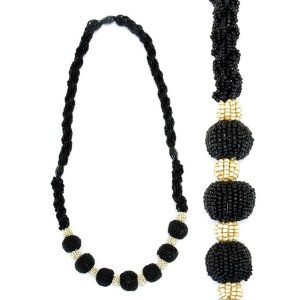 Necklace Black & Antique White 72 Cm Made With Glass & Bead by JOE COOL