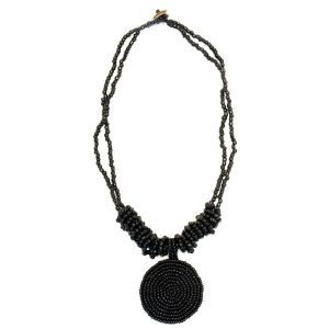 Necklace With A Pendant Pendant Disc Black 46 Cm 50 Mm Made With Glass & Bead by JOE COOL
