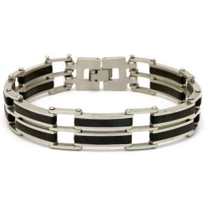 Bangle Stainless Black 2 Bar Made With Surgical Steel by JOE COOL